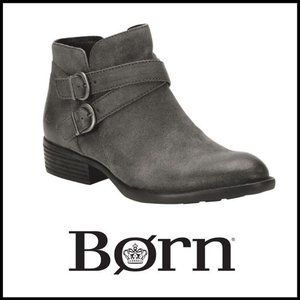 NWT BORN Distressed Suede Dark Grey Bootie, 7.5M
